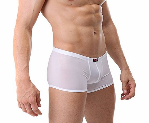 Yafex New Sexy Mens Smooth Underwear Boxer Briefs 3 Size S M L (M, White)