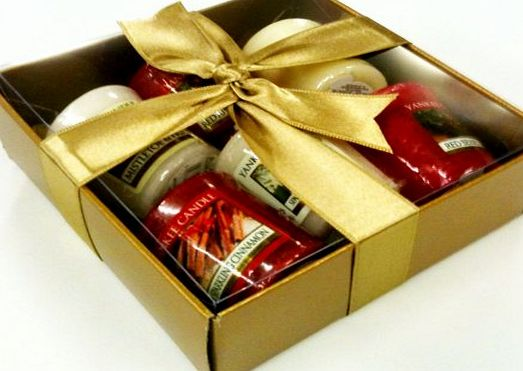 Yankee Candle luxury Christmas 6 Sampler Pack - Gift Wrapped- in Gold Box, Gold Tissue amp; Gold Ribbon amp; includes WHITE CHRISTMAS
