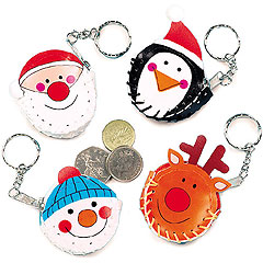 Funky Christmas Coin Purse Keyrings