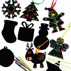 yellowmoon Scratch Art Christmas Decorations