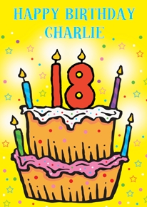 Card name: 18 Cake, Occasion: Birthdays, Style: Age, Artist: Louise Gardner, Card finish: coated, - CLICK FOR MORE INFORMATION