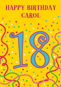 Card name: 18 Curly, Occasion: Birthdays, Style: Age, Artist: Louise Gardner, Card finish: coated, - CLICK FOR MORE INFORMATION