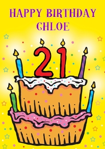 Card name: 21 Cake, Occasion: Birthdays, Style: Age, Artist: Louise Gardner, Card finish: coated, - CLICK FOR MORE INFORMATION