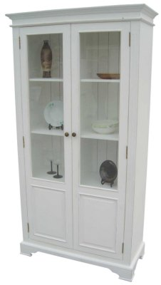 Your Price Furniture.co.uk Kristina White Painted 2 Door Display Cabinet