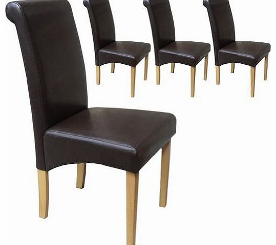 leather dining chair your price furniture set of 4 faux  : your price furniture set of 4 faux leather roma scroll top dining chairs brown with p from www.comparestoreprices.co.uk size 539 x 480 jpeg 21kB