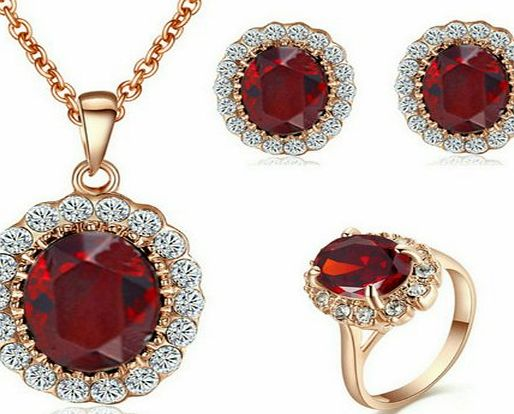 Yoursfs Kate Middleton Style Red Crystal Jewelry Sets 18k Rose Gold Plated Ruby Pendant Necklace and Stud Earring and Rings product image