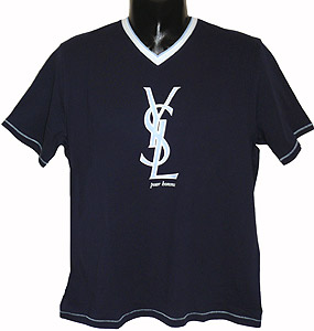 Ysl short sleeve v neck t shirt with interlocked sl logo for Who sells ysl t shirts