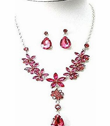 Zaam Jewellery Pink Flower Crystal Diamante Necklace Earrings Evening Fancy Dress Gift Jewellery Set product image
