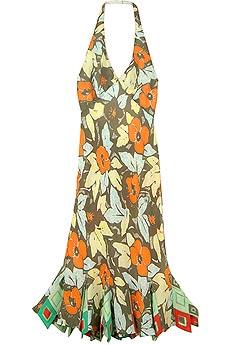 Marc Bouwer GlamIt! red pleated silk halter neck dress | BLUEFLY