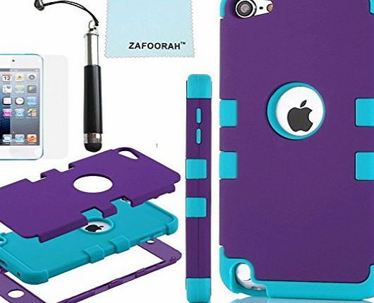 ZAFOORAH Case Cover fits Apple iPod Touch 5 5th Generation Shock proof Impact Defender  Free Stylus Screen Protector Microfiber Cloth (Double Clip 3 Layers - BLACK/LIGHT BLUE)