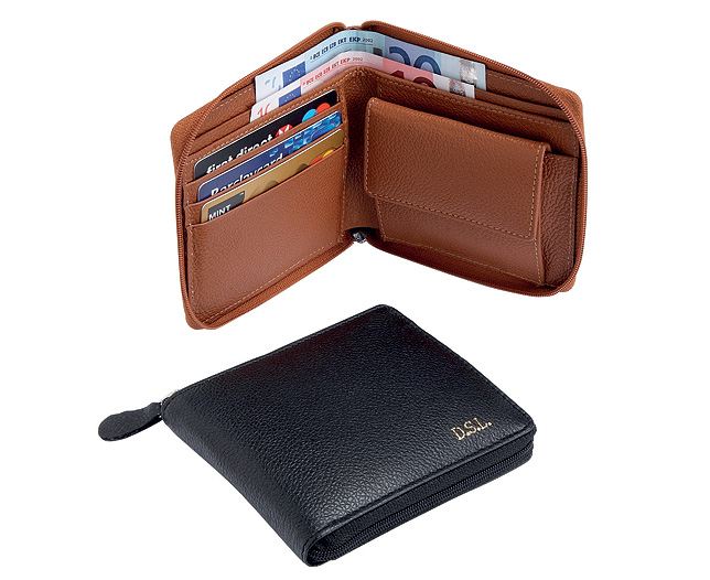 Gents Wallet...!! Zip-round-gents-wallet-personalised-tan-