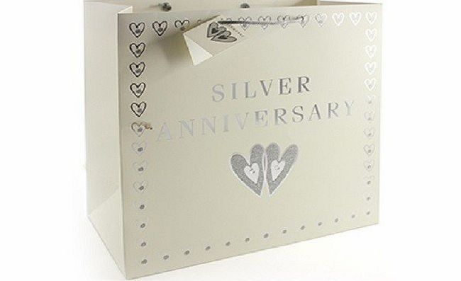 ... Silver 25th Wedding Anniversary Gift Bag andamp; Attached Gift Tag