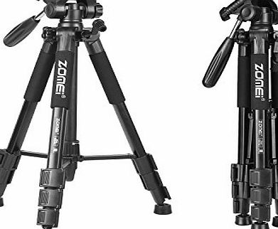 Zomei Z666 Compact Light Weight Travel Camera Tripod with 3 Way Panhead 360° Head for DSLR SLR Camera DV Canon Nikon Petax Sony Include Carry Case -Black
