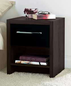 1 Drawer Bedside Chest - Walnut and Black
